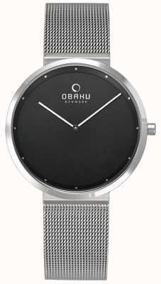 Obaku | papir das mulheres lillie onyx | pulseira de malha de prata | Preto V230LXCBMC