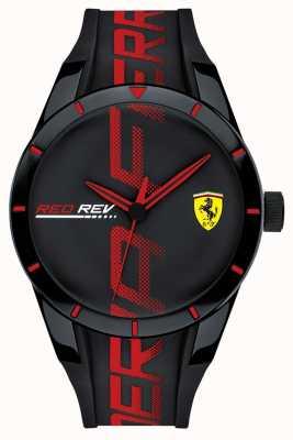 Scuderia Ferrari | redrev masculino | pulseira de silicone preto / vermelho | mostrador preto | 0830614