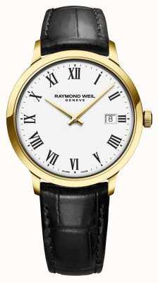 Raymond Weil | toccata para homem | mostrador branco clássico da caixa do ouro do pvd | 5485-PC-00300