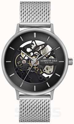 Kenneth Cole | mens automático | pulseira de malha de aço | mostrador preto | KC50780005