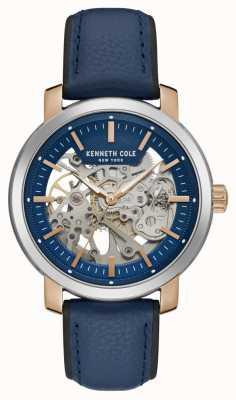 Kenneth Cole | mens automático | pulseira de couro azul | mostrador de esqueleto azul | KC50776002