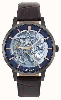 Kenneth Cole | mens automático | pulseira de couro marrom | mostrador azul | KC50559001