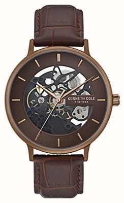 Kenneth Cole | mens automático | pulseira de couro marrom | mostrador marrom | KC50780002
