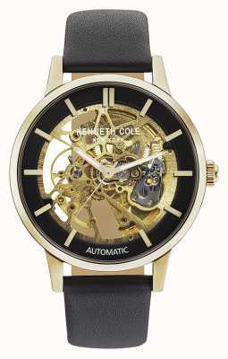 Kenneth Cole | mens automático | pulseira de couro preto | mostrador preto | KC50559006