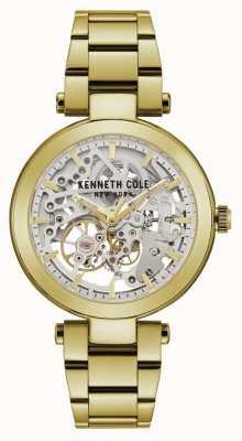Kenneth Cole | mulheres automáticas | pulseira amarela / ouro | mostrador prateado | KC50799003
