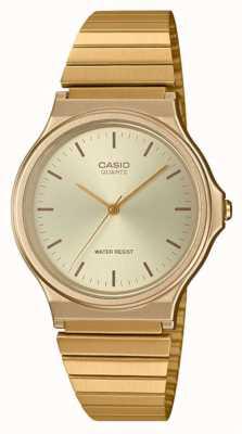 Casio | relógio redondo vintage | pulseira expansível | mostrador de ouro | MQ-24G-9EEF