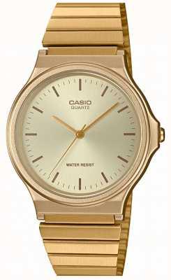 Casio   relógio redondo vintage   pulseira expansível   mostrador de ouro   MQ-24G-9EEF
