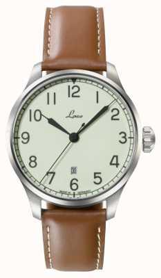 Laco | valencia 42 | relógio automático da marinha | couro de novilho castanho | 861651.2