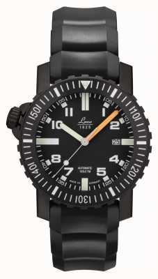 Laco | sete mares | relógio automático de esquadra | pulseira de borracha preta | 861703