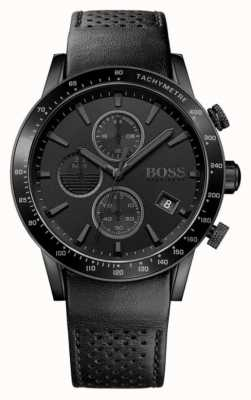 Hugo Boss | mens rafale cronógrafo | mostrador preto | pulseira de couro preto 1513456