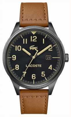 Lacoste | mens continental | pulseira de couro marrom | mostrador preto | 2011021