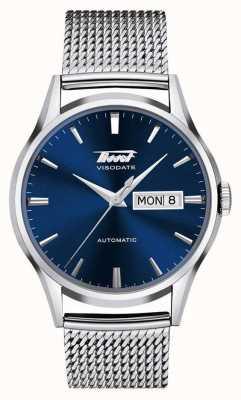 Tissot | património mens visodate | malha de aço inoxidável | mostrador azul T0194301104100