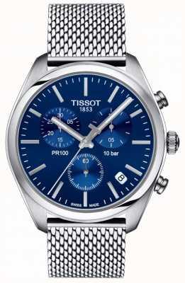 Tissot | mens pr100 cronógrafo | pulseira de malha | mostrador azul | T1014171104100