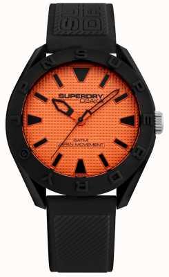 Superdry | mens osaka | pulseira de silicone preta | mostrador laranja | SYG243BO