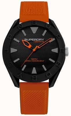 Superdry | mens osaka | pulseira de silicone laranja | mostrador preto | SYG243OB