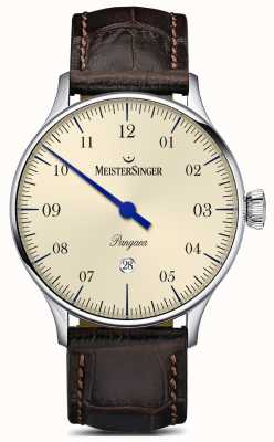 MeisterSinger Pangaea data brown jacaré pulseira marfim dial PMD903
