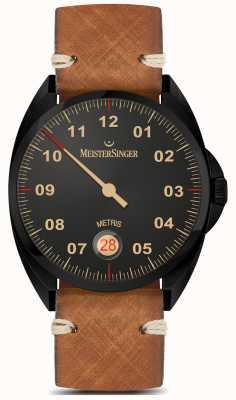 MeisterSinger Metris - black line pulseira de couro marrom mostrador preto ME902BL