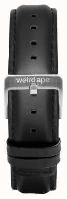 Weird Ape Couro preto cinta de prata 16mm fivela ST01-000045