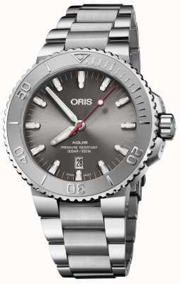 ORIS | alívio da data aquis | pulseira de aço inoxidável | mostrador cinza | 01 733 7730 4153-07 8 24 05PEB