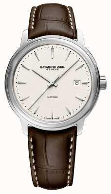 Raymond Weil | mens maestro | pulseira de couro marrom | mostrador prateado | 2237-STC-65011