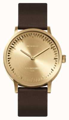 Leff Amsterdam | relógio de tubo | t32 latão | pulseira de couro marrom | LT74323