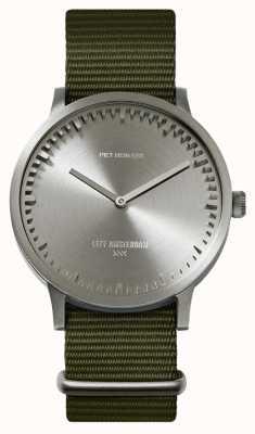 Leff Amsterdam | relógio de tubo | t40 | aço | pulseira verde da OTAN | LT75131