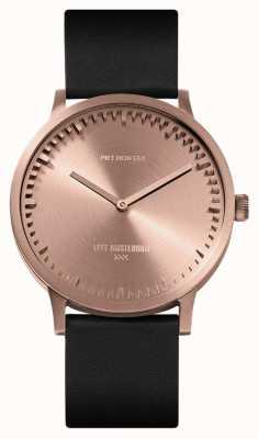 Leff Amsterdam | relógio de tubo | t40 ouro rosa | pulseira de couro preto | LT75414