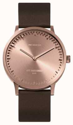 Leff Amsterdam | relógio de tubo | t40 | ouro rosa | pulseira de couro marrom | LT75424