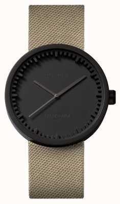 Leff Amsterdam | relógio de tubo | d38 | preto | pulseira de areia coedura | LT71013