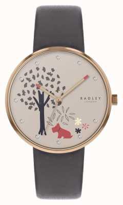 Radley | pulseira de couro cinza das mulheres | marcação de árvore e cão | RY2788