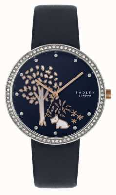 Radley | alça de couro da marinha das mulheres | moldura de cristal | discagem de árvore RY2783
