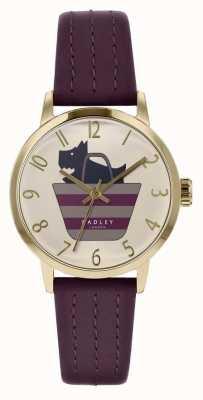Radley   pulseira de couro roxo das mulheres   cão impresso no mostrador de saco   RY2796