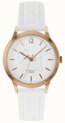Radley | pulseira de silicone branco para mulher | mostrador branco | caso de ouro rosa RY2818