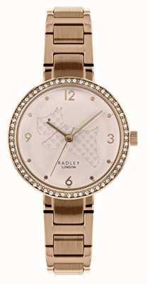 Radley | pulseira de aço de ouro rosa feminina | seletor de cachorro cortado | RY4394