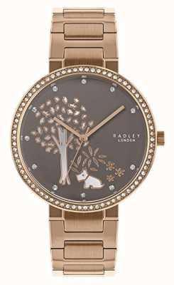 Radley | pulseira de aço de ouro rosa feminina | seletor de árvore branca / cinza | RY4386