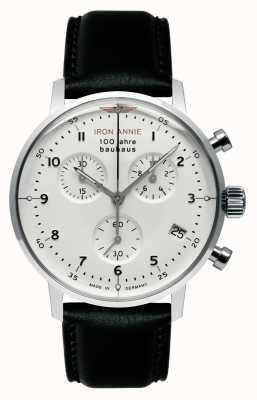 Iron Annie Bauhaus crono | mostrador branco | couro preto 5096-1