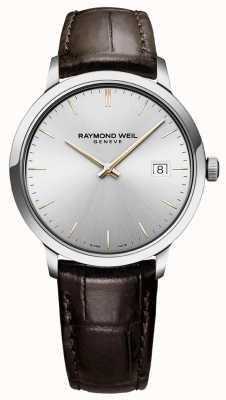 Raymond Weil | mens toccata | pulseira de couro marrom | mostrador prateado | 5485-SL5-65001