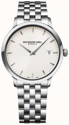 Raymond Weil Mens toccata assistir creme de discagem pulseira de aço inoxidável 5488-ST-40001