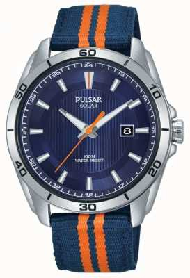 Pulsar | mostrador azul mens | pulseira de tecido azul / laranja | PX3175X1