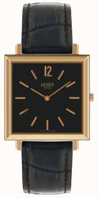 Henry London Património quadrado preto discagem relógio de pulseira de couro preto HL34-QS-0270