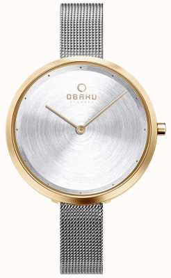 Obaku | mulheres dok gold bi | malha de prata | estojo de ouro | mostrador prateado V227LXGIMC