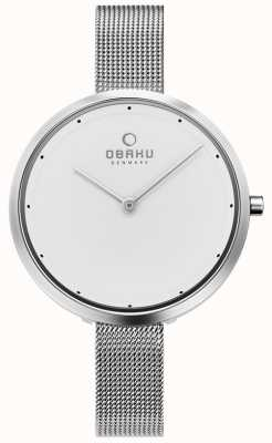 Obaku | aço dok para mulher | pulseira de malha de prata | mostrador branco | V227LXCIMC