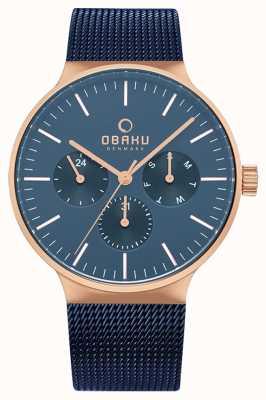 Obaku | mens mos oceano | malha azul | mostrador cronógrafo azul | V229GMVLML