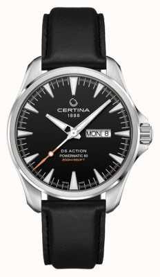 Certina | ds ação dia-data powermatic 80 | pulseira de couro preta | C0324301605100