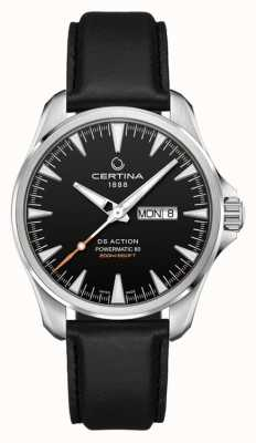 Certina   ds action day-date powermatic 80   pulseira de couro preto   C0324301605100