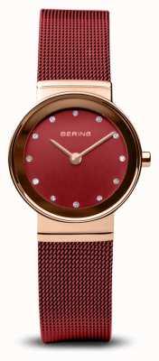 Bering Mulheres | clássico pulseira de malha de aço pvd vermelho 10126-363
