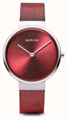Bering Mulheres | clássico pvd vermelho chapeado pulseira de malha de aço 14531-303