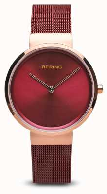 Bering Mulheres | clássico pvd vermelho chapeado pulseira de malha de aço 14531-363