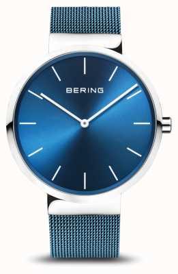 Bering Mens clássico | pvd azul chapeado pulseira de malha de aço 16540-308