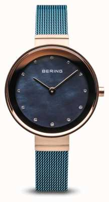 Bering Mulheres | clássico malha de aço chapeada pvd azul 10128-368